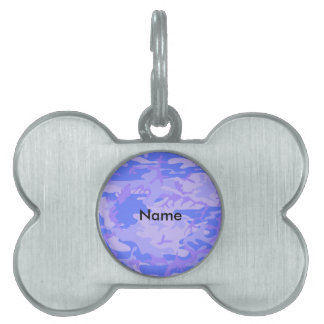Light Blue Camouflage Pattern Pet Name Tag