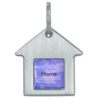 Light Blue Camouflage Pattern Pet Tag