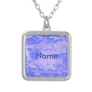 Light Blue Camouflage Pattern Silver Plated Necklace