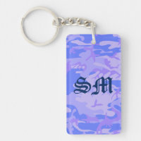 Light Blue Camouflage Rectangle Acrylic Keychain