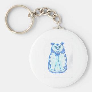 Light Blue Cat Basic Round Button Keychain
