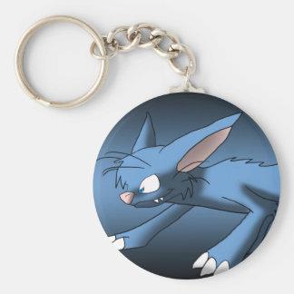 Light Blue Cat Dragon Basic Round Button Keychain