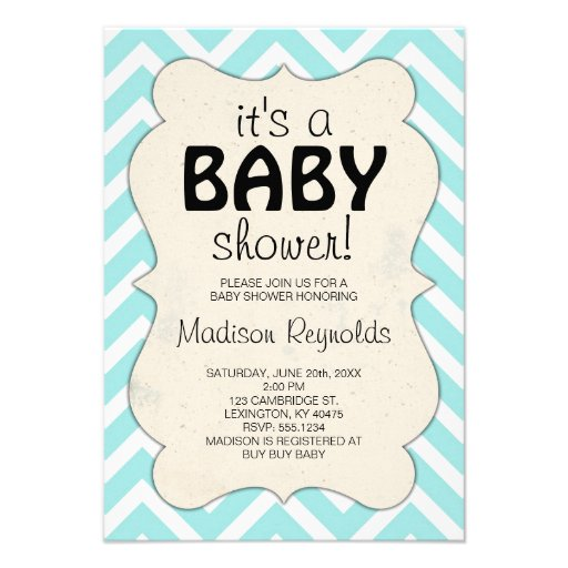 light blue chevron baby shower invitation 3 5 x 5 invitation card