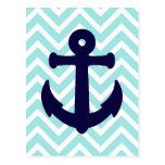 Light Blue Chevron Nautical Anchor Postcard 2 Post Cards