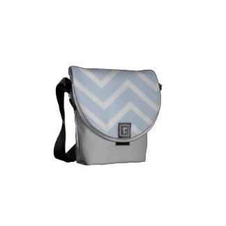 Light Blue Chevron Pattern Messenger Bag