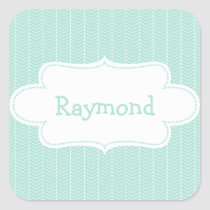 Light Blue Chevron Pattern with Label