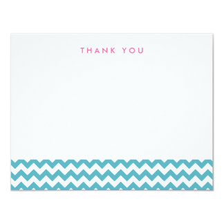 "Light Blue Chevron Thank You Note Cards 4.25"" X 5.5"" Invitation Card"