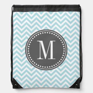 Light Blue Chevron Zigzag Personalized Monogram Drawstring Backpack