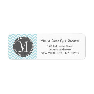 Light Blue Chevron Zigzag Personalized Monogram Return Address Label