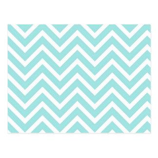 Light blue chevrons stripes pattern postcard