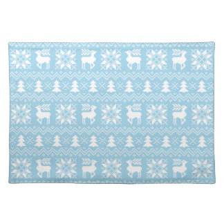 Light Blue Christmas Holiday Sweater Pattern Cloth Place Mat