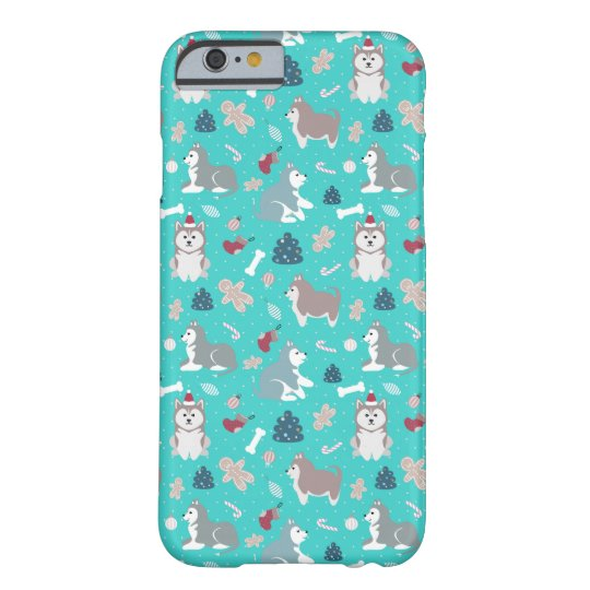light blue christmas husky dog iphone 6 case