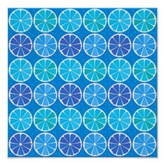 Light blue citrus pattern posters
