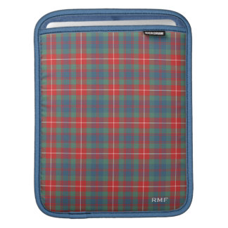 Light Blue Clan Fraser of Lovat Tartan Monogram iPad Sleeve