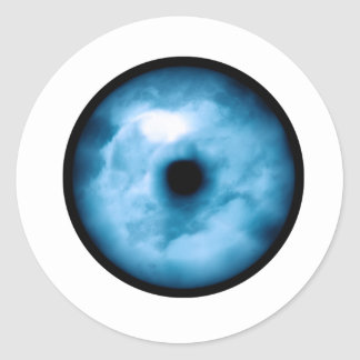 Light Blue cloudy eye graphic Round Stickers
