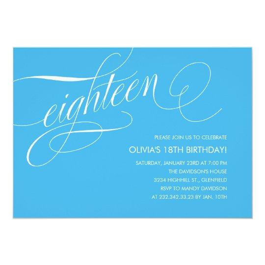 light blue contemporary 18th birthday invitations  zazzle