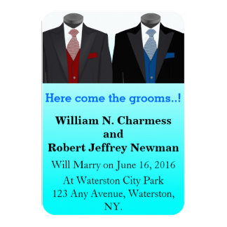 Light Blue Customizable Grooms Only Wedding 3.5x5 Paper Invitation Card