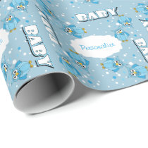 Light Blue Cute Baby Polka Dot Owls Wrapping Paper