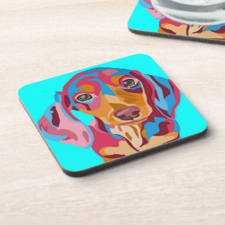 Light Blue Dachshund Drink Coasters