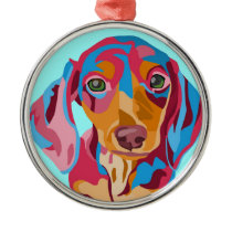 Light Blue Dachshund Metal Ornament