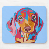Light Blue Dachshund Mouse Pad