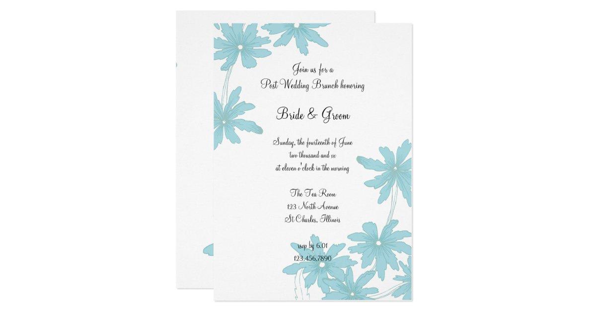 Post Wedding Brunch Invitation Wording: Light Blue Daisies Post Wedding Brunch Invitation