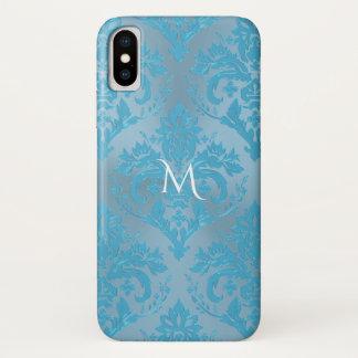 Light Blue Damask Monogram iPhone X Case