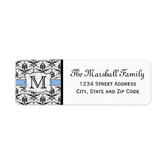 Light Blue Damask Monogram Return Address Labels