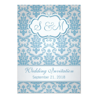 Light blue damask on silver background Wedding Card