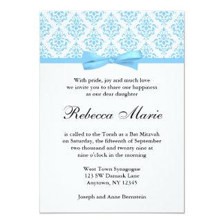 Light Blue Damask Ribbon Bow Bat Mitzvah 5x7 Paper Invitation Card