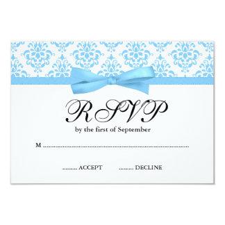 Light Blue Damask Ribbon Bow RSVP Card