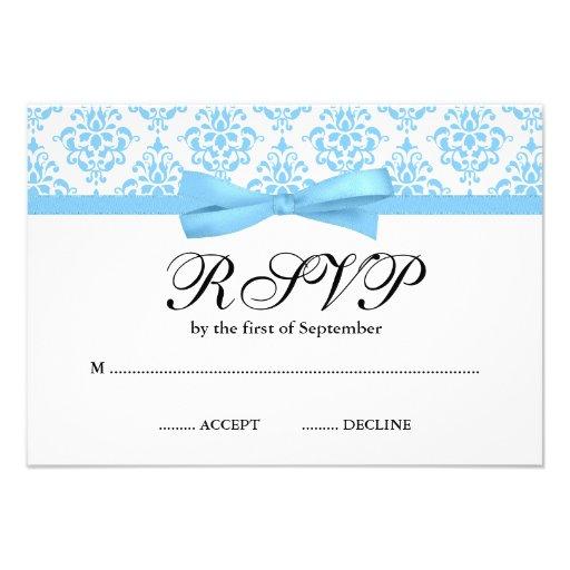 Light Blue Damask Ribbon Bow RSVP Personalized Invite