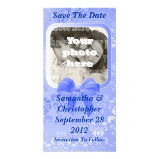Light blue damask save the date wedding photo card
