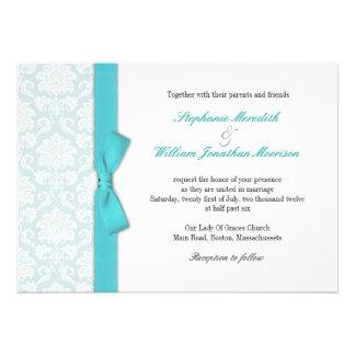 Light Blue Damask Turquoise Bow Wedding Invitation