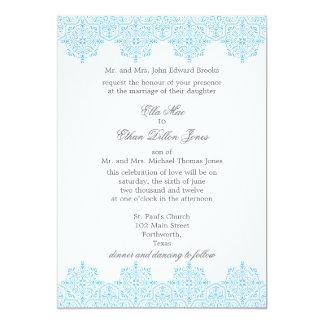 Light Blue Damask Wedding invitations
