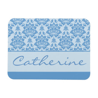 Light Blue Damask with Customizable Name Magnet
