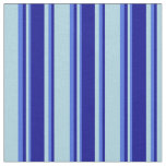 [ Thumbnail: Light Blue, Dark Blue & Royal Blue Lined Pattern Fabric ]