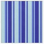 [ Thumbnail: Light Blue, Dark Blue & Royal Blue Lined Pattern Fabric ]