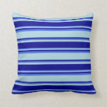 [ Thumbnail: Light Blue, Dark Blue & Royal Blue Lined Pattern Throw Pillow ]