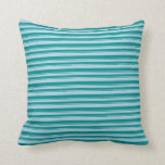 [ Thumbnail: Light Blue & Dark Cyan Colored Pattern Pillow ]
