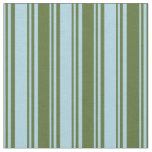 [ Thumbnail: Light Blue & Dark Olive Green Colored Stripes Fabric ]