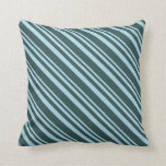 [ Thumbnail: Light Blue & Dark Slate Gray Colored Stripes Throw Pillow ]