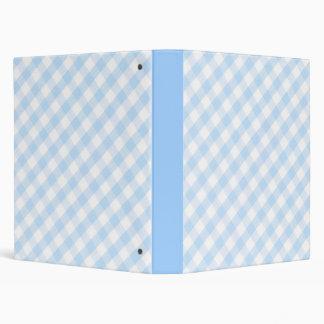 Light blue diagonal gingham pattern 3 ring binder