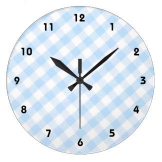 light blue diagonal gingham pattern clocks