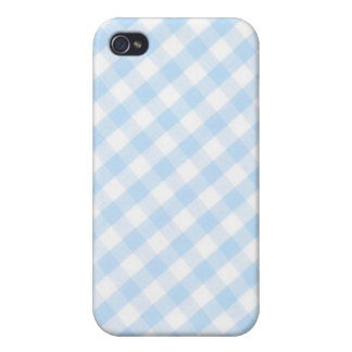 Light blue diagonal gingham pattern iPhone 4/4S covers