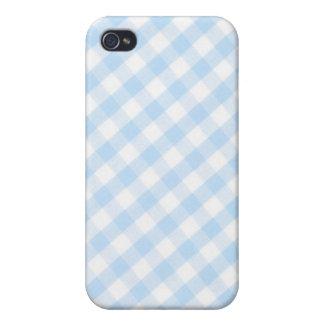 Light blue diagonal gingham pattern case for iPhone 4