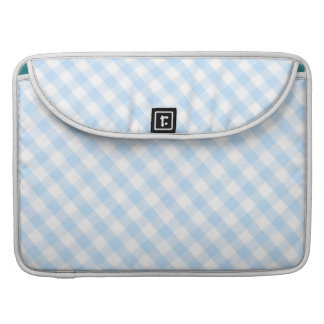 Light blue diagonal gingham pattern MacBook pro sleeve