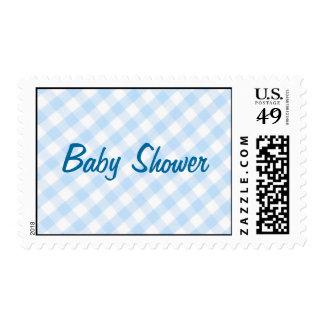 Light blue diagonal gingham pattern postage