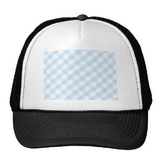 Light blue diagonal gingham pattern trucker hat
