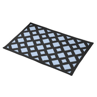 Light Blue Diamonds on Black Cloth Placemat